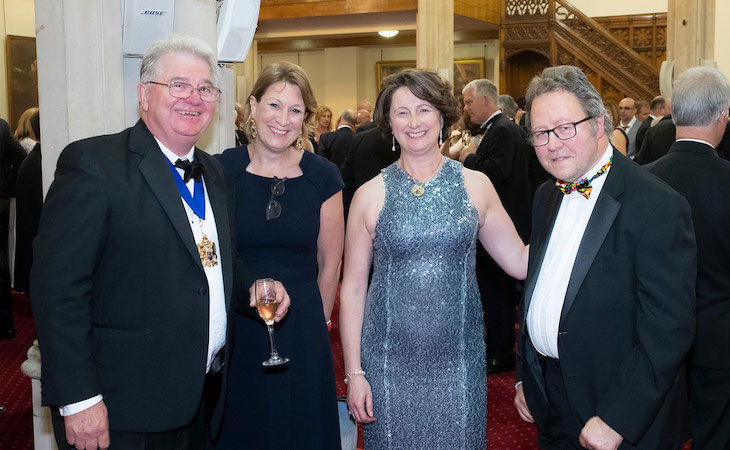 (L-R) The Master, Graham Baker; Helen Matthews, deputy CEO of The Cure Parkinson's Trust; The Master's Consort, Elizabeth Baker; and Dr Jon Stamford during the drinks reception.
